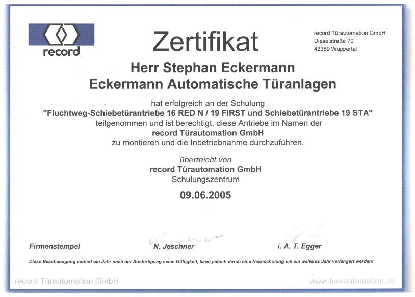 Automatische Türen Zertifizierungen | Automatische Türanlagen ...